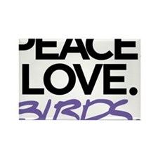 Peace. Love. Birds. (Black and Purple) Rectangle M