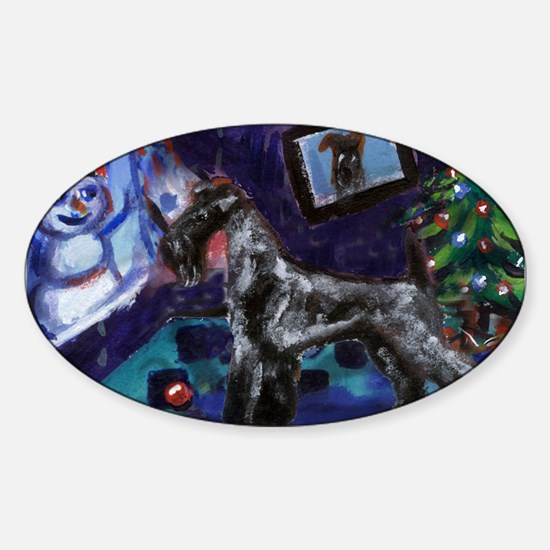 KERRY BLUE xmas Oval Decal