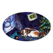 BRITTANY SPANIEL Christmas Oval Decal