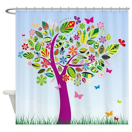 Modern Whimsical Tree Shower Curtain By Walela