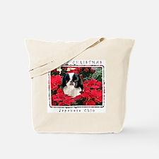 Japanese Chin Christmas Poinsettia Tote Bag