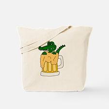 Alligator in Beer Mug Tote Bag