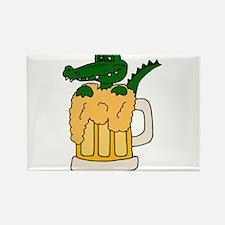 Alligator in Beer Mug Rectangle Magnet