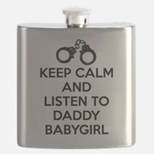 Keep Calm and Listen to Daddy w/ Handcuffs Flask