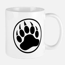 Classic black bear claw inside a black ring. Mug