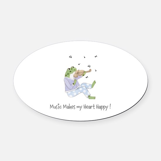 Personalized Music Frog Oval Car Magnet