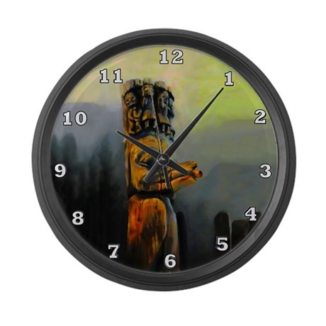 Raven Totem Pole Large Wall Clock
