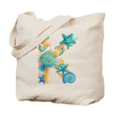 Beach Theme Initial K Tote Bag
