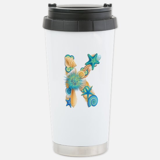 Beach Theme Initial K Travel Mug