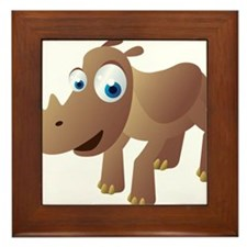 Cartoon Rhino Framed Tile
