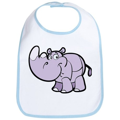 Purple Cartoon Rhino Bib