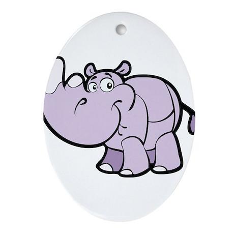 Purple Cartoon Rhino Ornament (Oval)