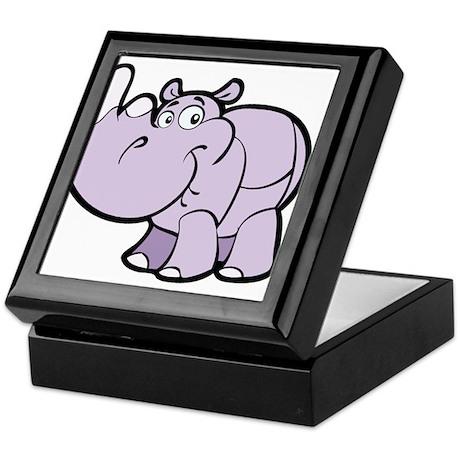 Purple Cartoon Rhino Keepsake Box