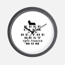 Keep Calm Skye Terrier Designs Wall Clock