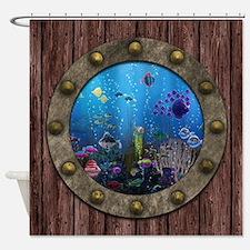 Underwater Love Porthole Shower Curtain