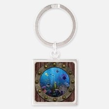 Underwater Love Porthole Square Keychain