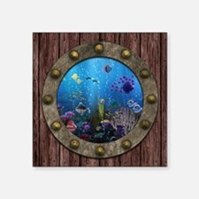 "Underwater Love Porthole Square Sticker 3"" x 3"""