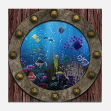 Underwater Love Porthole Tile Coaster