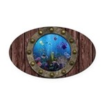 Underwater Love Porthole Oval Car Magnet