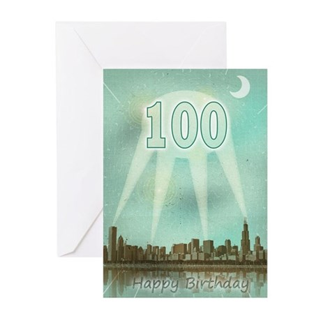 100th birthday spotlights over the city Greeting C