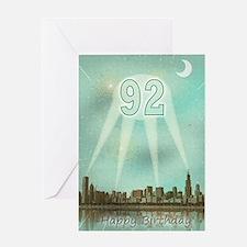 92nd birthday spotlights over the city Greeting Ca