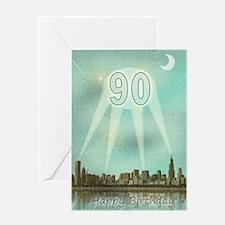 90th birthday spotlights over the city Greeting Ca