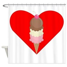 Ice Cream Cone Heart Shower Curtain