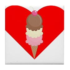 Ice Cream Cone Heart Tile Coaster