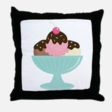 Ice Cream Sundae Throw Pillow