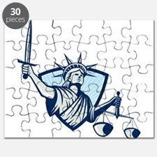 Statue of Liberty Holding Scales Justice Sword Puz
