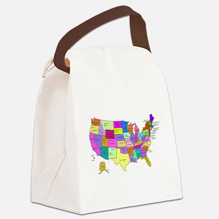 United States and Capital Cities Canvas Lunch Bag