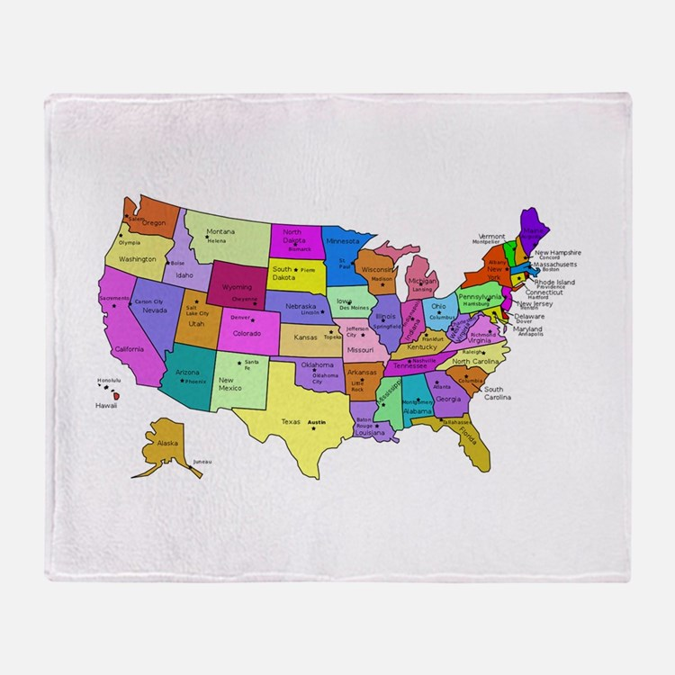 United States and Capital Cities Throw Blanket