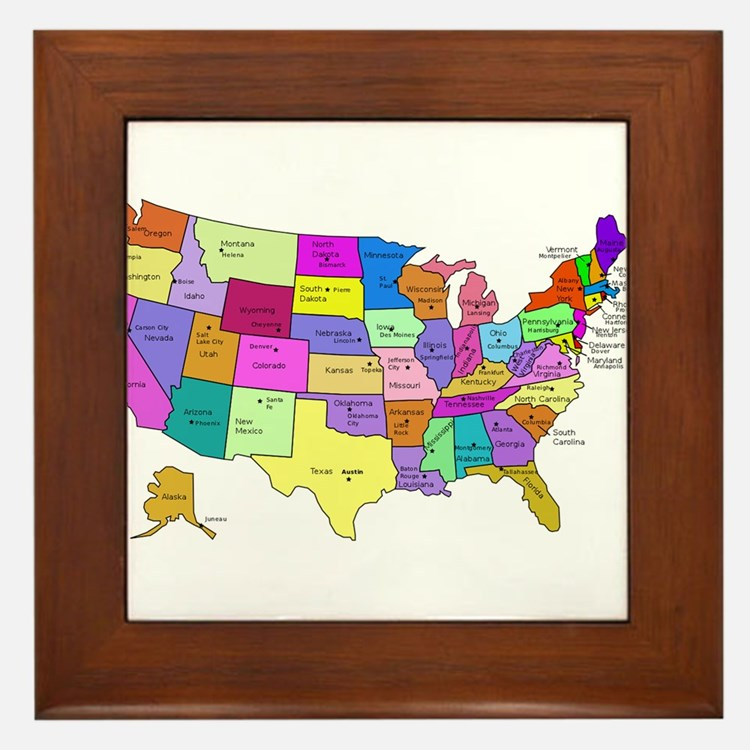 United States and Capital Cities Framed Tile