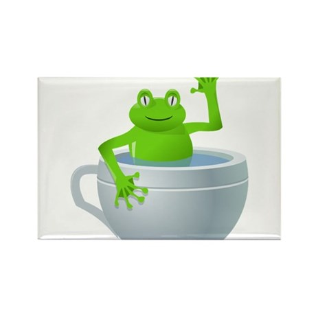 Cartoon Frog in a Cup Rectangle Magnet (10 pack)