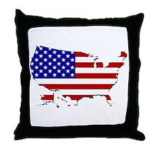 US Flag Map Throw Pillow