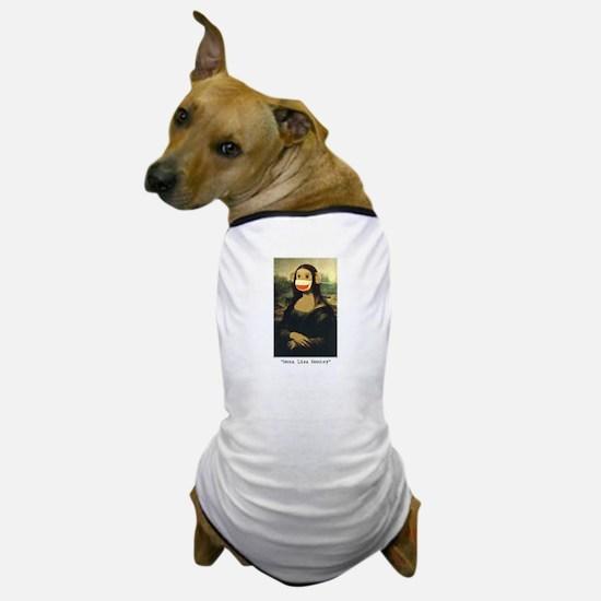 Mona Lisa Monkey Dog T-Shirt