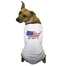 US Flag Map Dog T-Shirt