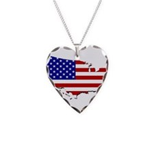 US Flag Map Necklace
