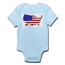 US Flag Map Body Suit
