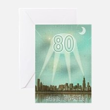 80th birthday spotlights over the city Greeting Ca