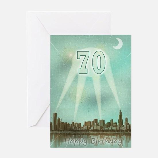 70th birthday spotlights over the city Greeting Ca