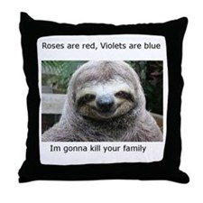 Killer Sloth Throw Pillow