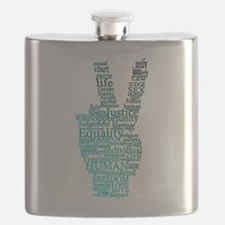 Black and Teal Peace Flask