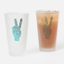 Black and Teal Peace Drinking Glass