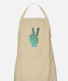 Black and Teal Peace Apron