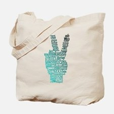Black and Teal Peace Tote Bag