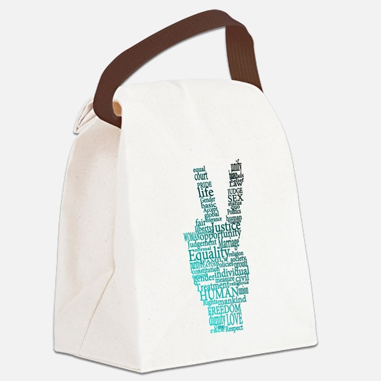 Black and Teal Peace Canvas Lunch Bag