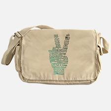 Black and Teal Peace Messenger Bag