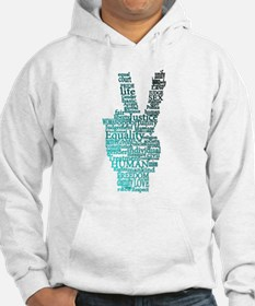 Black and Teal Peace Hoodie