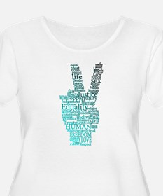 Black and Teal Peace Plus Size T-Shirt